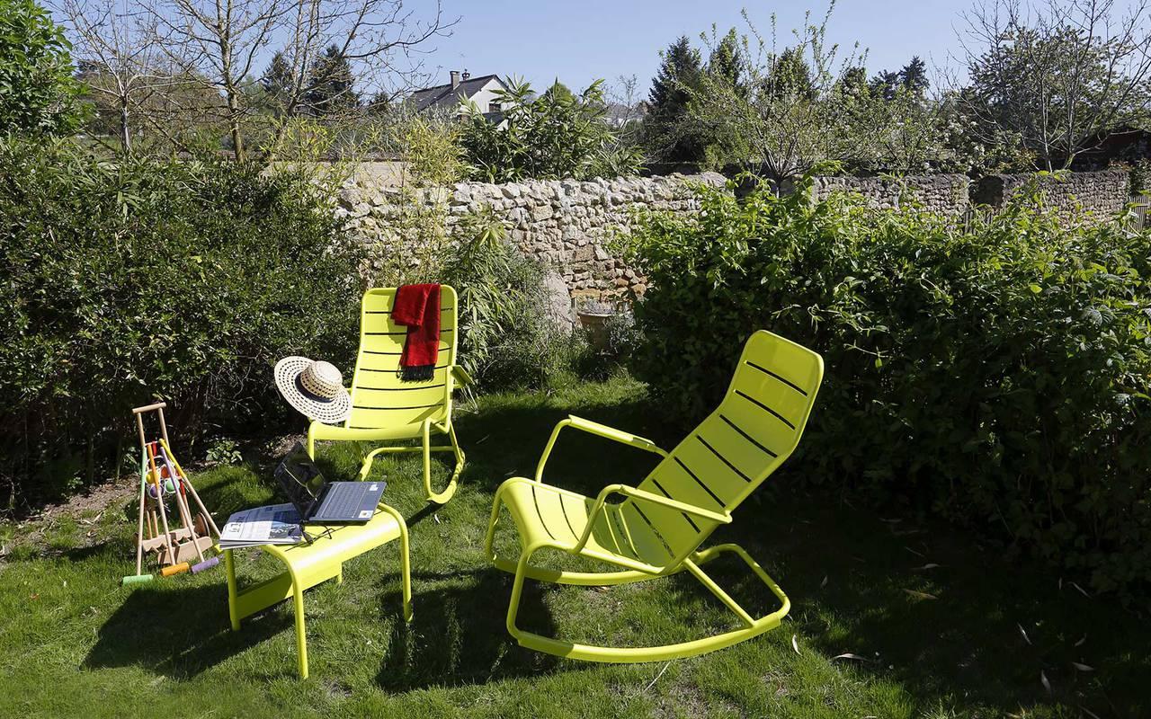 Deckchairs of terrace hotel de luxe loire