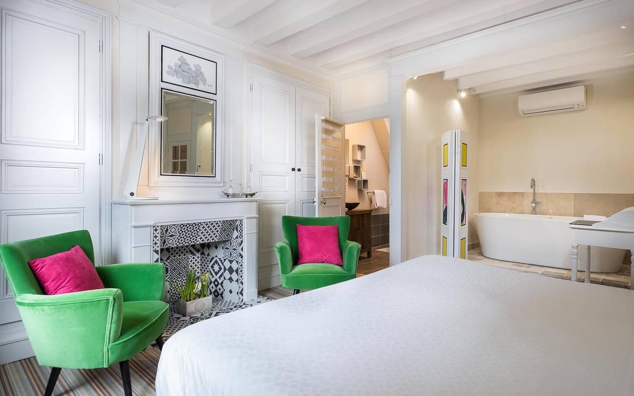 Grands fauteuils verts hôtel chenonceaux