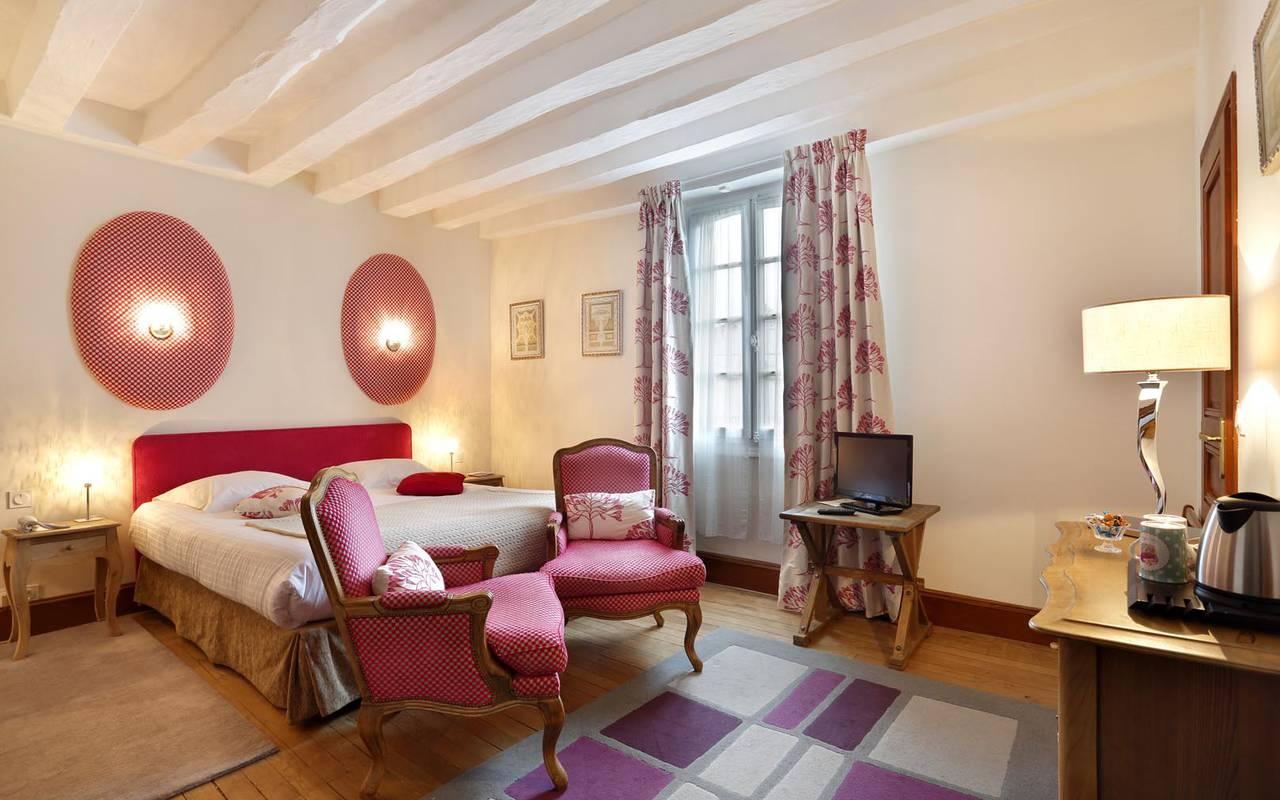 Chambre double violette hôtel tours