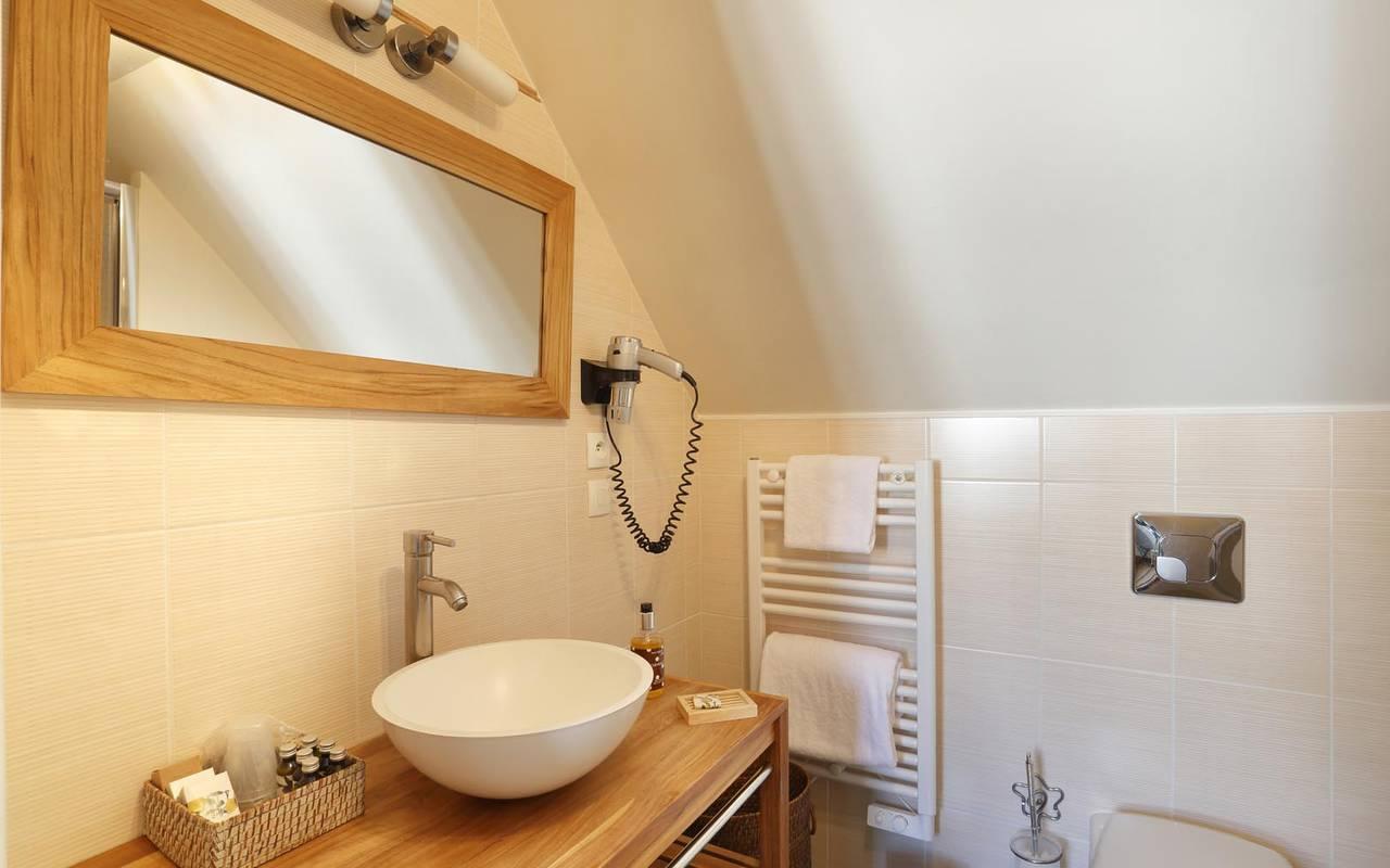 Miroir de la salle de bain hôtel loire