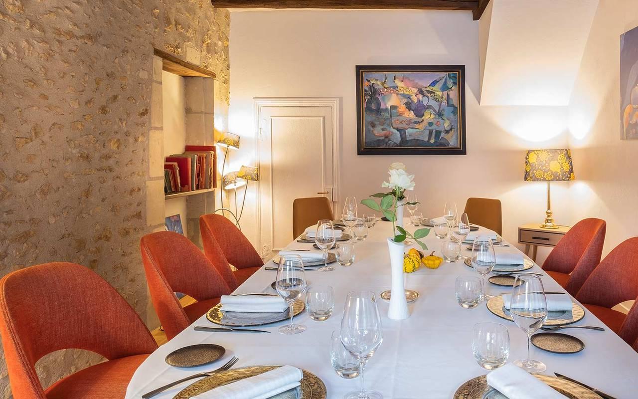 Table dressée pour le repas séminaire professionnel indre et loire